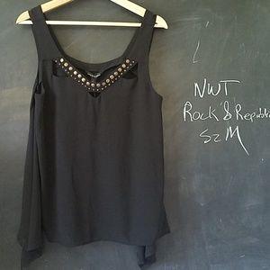 NWT Rock & Republic Black SharkBite Tank Top Sz M